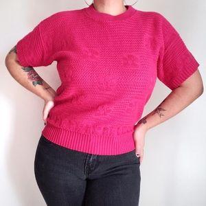 Vintage 80s floral knit short sleeved pink blouse